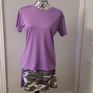 Running skort and short sleeve shirt matching set.